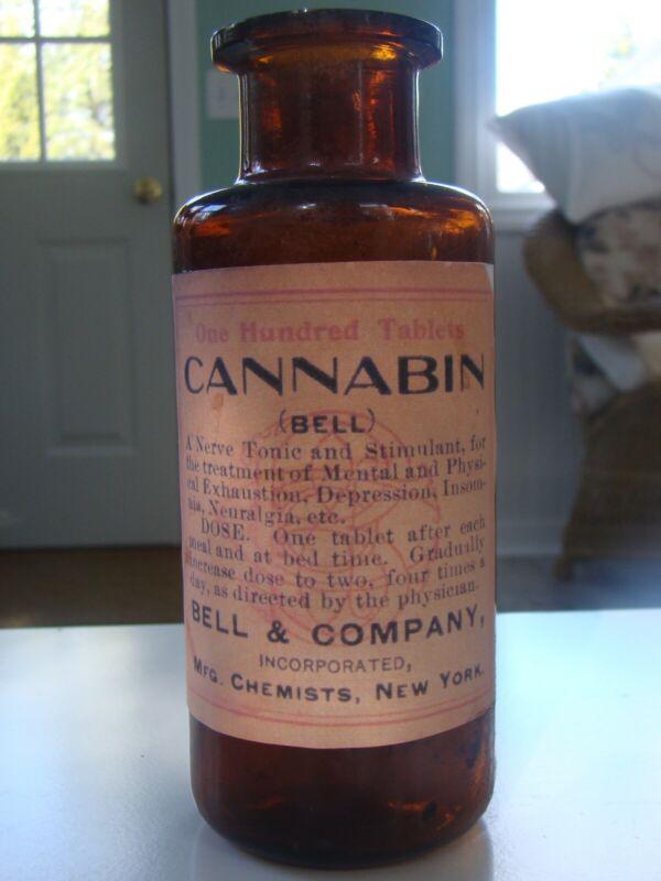 Vintage Bell &Company CANNABIN Nerve Tonic Medicine Tablets Reproduction Bottle