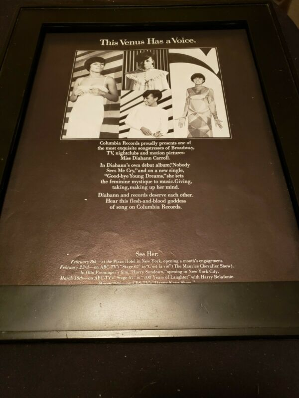 Diahann Carroll Good-bye Young Dreams Rare Original Promo Poster Ad Framed! #2