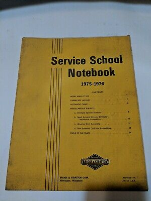 Vintage Old Briggs Stratton Service School Notebook 1975-1976