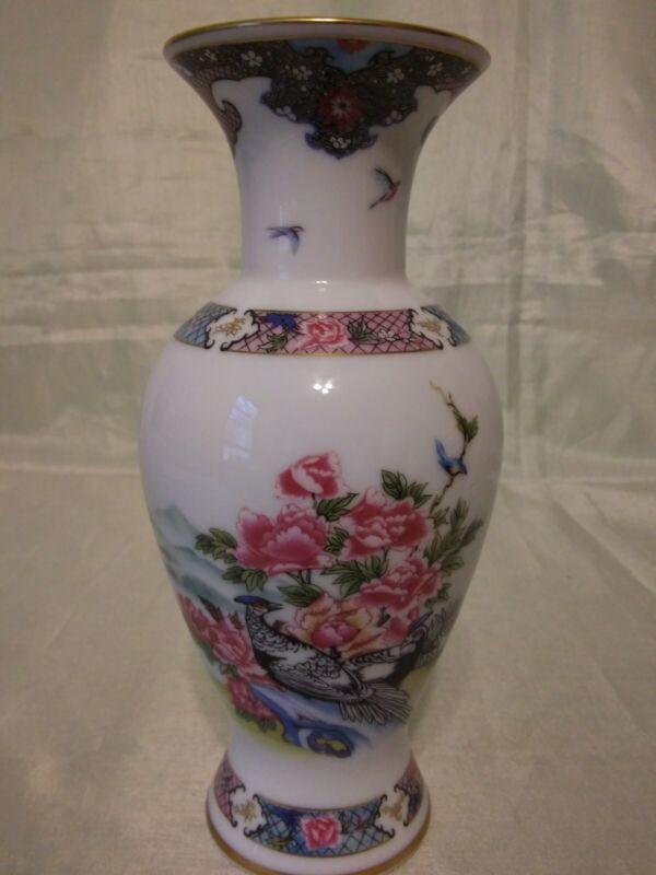"""Lenox The Martha Washington Vase """"Birds of Paradise"""" Pink Flowers"""