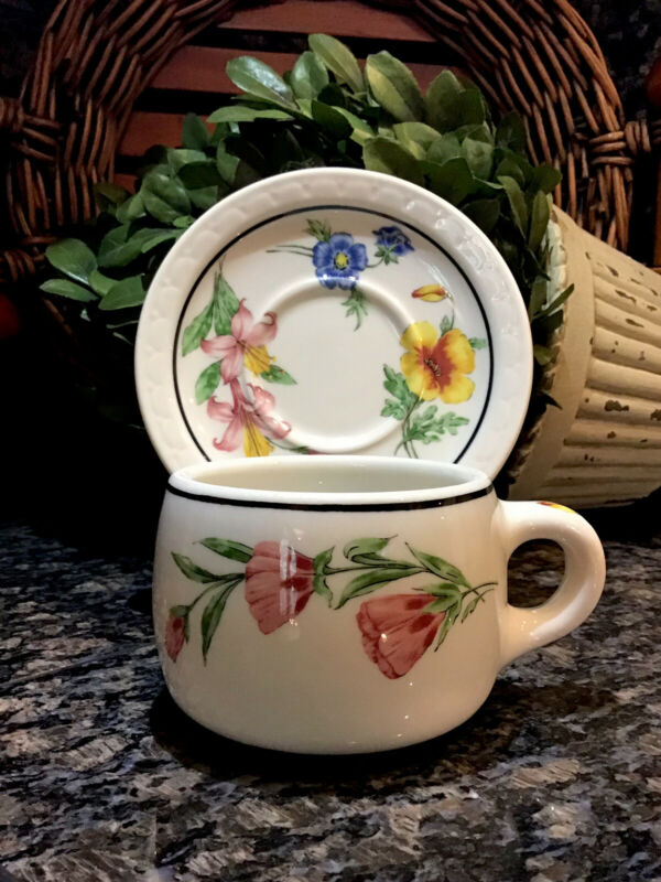 SOUTHERN PACIFIC RR Syracuse Prairie Mountain Wildflower Cup & Saucer EXCELLENT!