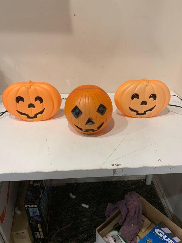 Vtg 3 Halloween Pumpkin Jack O Lantern Plastic Blow Mold Table Top Light