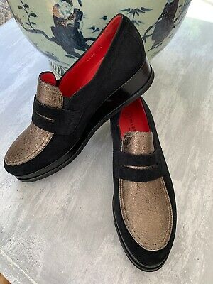 Pas De Rouge Black Suede Platform Wedge Oxford Made In Italy Sz 40 Metallic -
