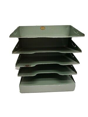 Curmanco Green Metal Desk 5 Tiers Shelves File Holder Tray Office Industrial