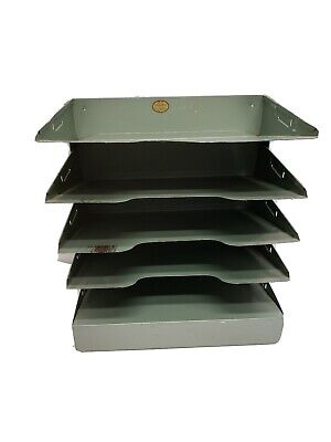 Curmanco Green Metal Desk 5 Tiers Shelves File Holder Tray Office Industrial
