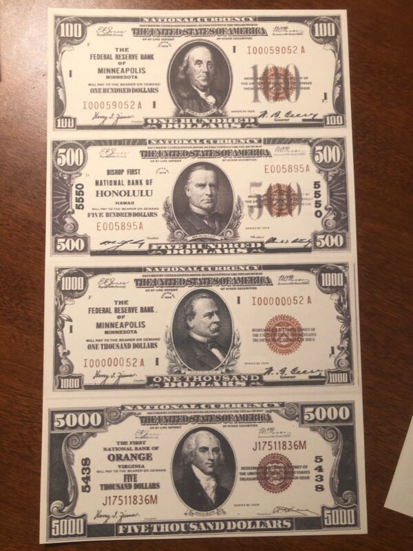 Copy 1929 National $100-$5,000 Uncut Reproduction Currency Money Sheet