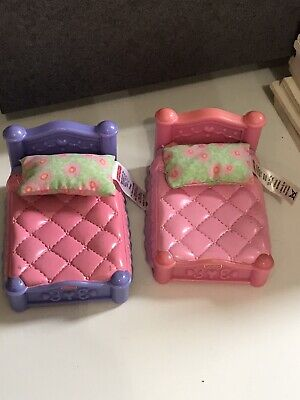 Fisher Price My First Doll House Twin Boy and Girl Doll Bed Purple Pink Lot