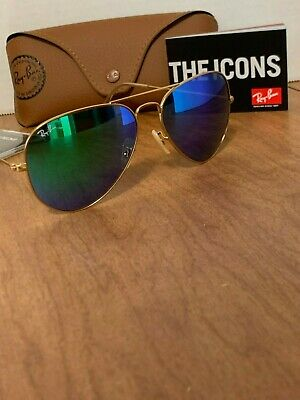 Ray-Ban Aviator Sunglasses RB3025 112/19 58mm Matte Gold Frame/Green Mirror (Ray Ban Rb3025 Green Mirror)