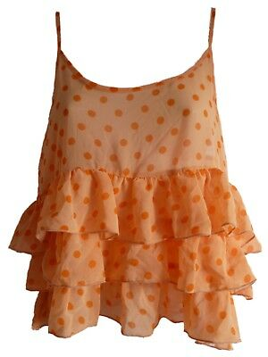 Asos Strappy Crop Top Pastel Orange Polka-Dot Dot Dotted Spotted Spot Ruffle NEW ()
