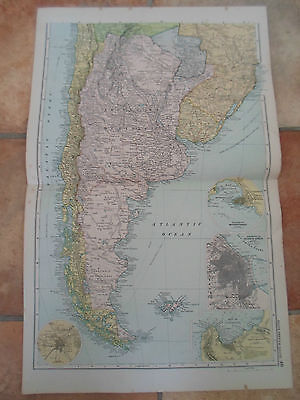 Old Map SOUTH AMERICA SOUTH From Bacon's Popular Atlas Of The World 1907 (No 46)