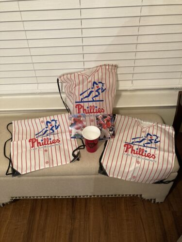 Philadelphia Phillies Sling Back Sack Drawstring Bag Lot 3,