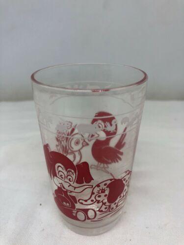Child Vintage 4 Oz. Juice Glass Cartoon Birds & Elephants White & Red Graphics
