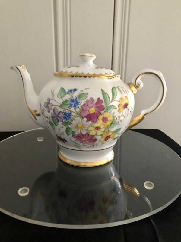TUSCAN ENGLISH FINE BONE CHINA TEAPOT  FLORAL PATTERN WITH  GOLD ACCENTS