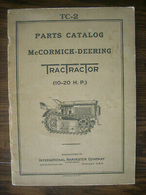 Ih Farmall Mccormick International 10-20 Tractractor Crawler Parts Manual