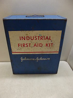 INDUSTRIAL WALL MOUNT FIRST AID KIT JOHNSON & JOHNSON EMERGENCY METAL CASE BOX