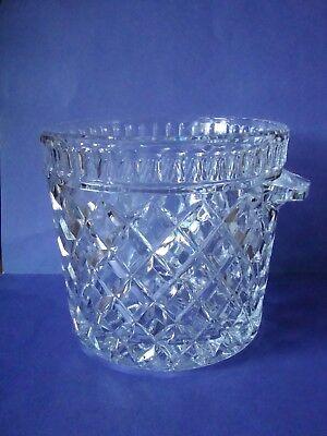 "Vintage 1960's Lead Crystal ICE BUCKET ICE BOWL SHORT VASE w/Handles 5 1/2"" x 5"""