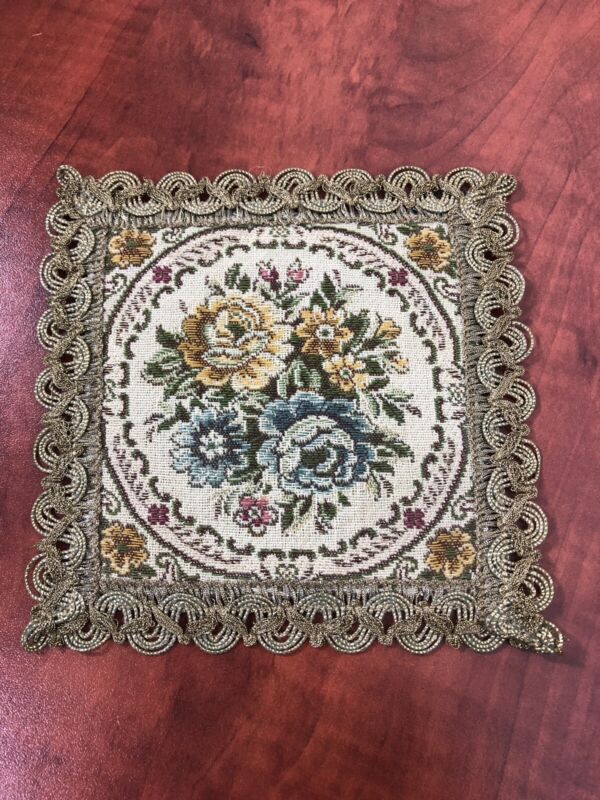 2 Lovely Antique Dollhouse Miniature Rugs Woven Accent Rugs Floral Pattern