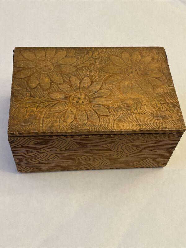 Pyrography Burnt Wood Box Flowers