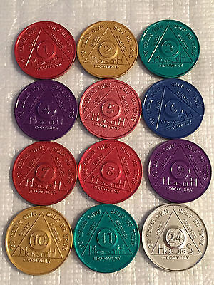Set of 12 Monthly Aluminum Colored AA Recovery Medallion Coin Month 1-11 & 24hrs