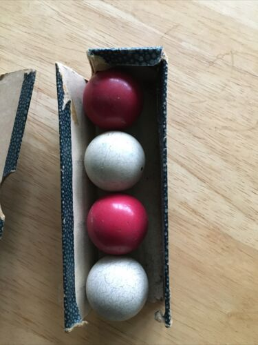 Antique/Vintage 1.25 Diam Bagatelle Balls Set Of 4 With Box