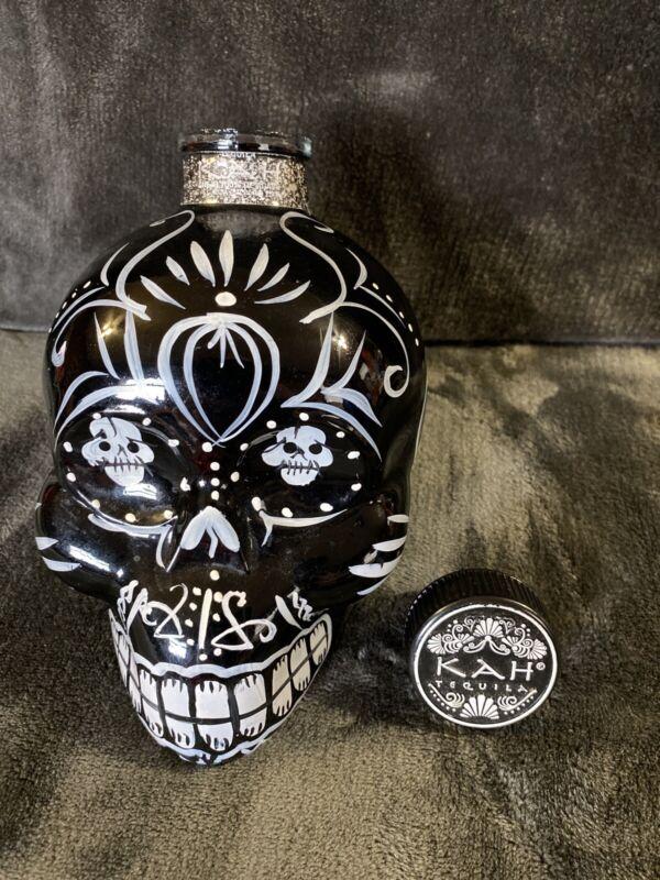 Black Kah Tequila Empty Sugar Skull Bottle 750ml