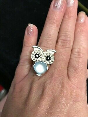 Owl bird shiny belly black crystal eye silver tone ring size 6