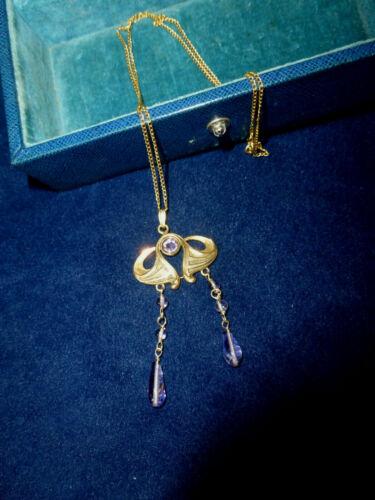 """Antique Art Nouveau Amethyst Pendant Necklace Gold-Fill 17"""" Chain"""