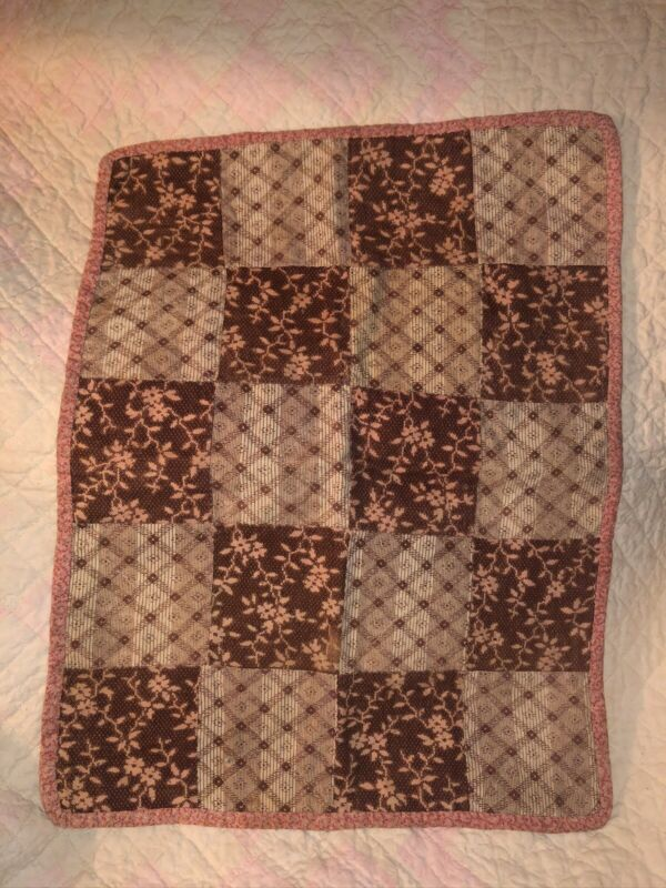 Antique Early School Girl Calico New England Miniature Quilt