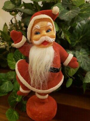 "Vintage Plastic Red Flocked Blow Mold 9"" Santa Claus 1960's CHRISTMAS DECOR VTG"