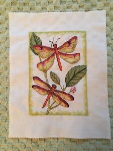 Handmade Cross Stitched dragonfly picture