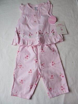 Carters Baby Girl Pant Set Ruffle Cap Sleeve Shirt w Pull On Pants 6 Mos #6898