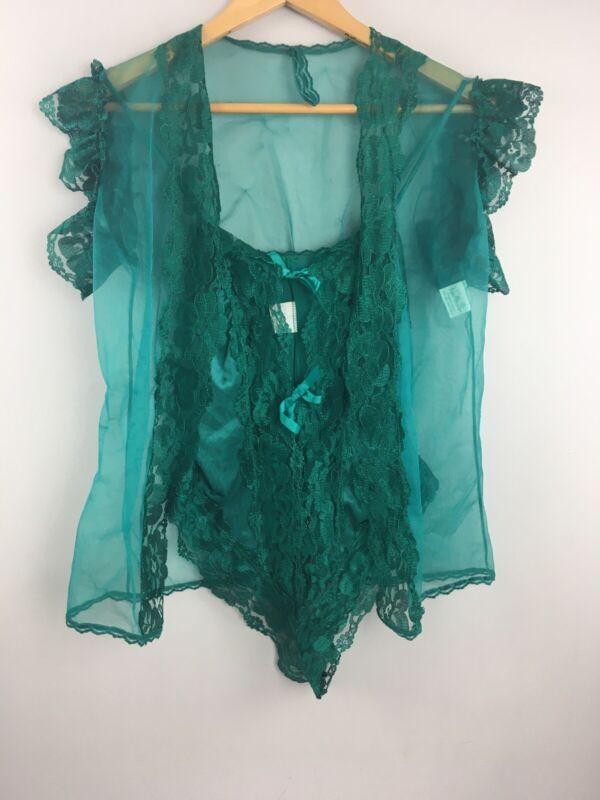 Vtg 60s Nan Flower Lingerie Set 2 Pc Green Teddy Robe S Nylon USA Made NN41