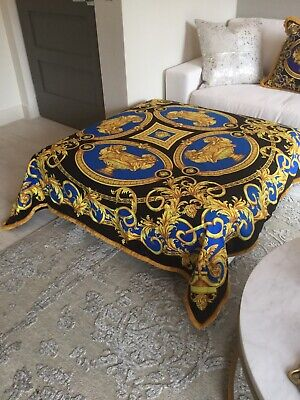 Large Costom Made Versace Throw Lion And Urn Print Uplostery Velvet 55inch/55