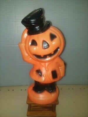 """Vtg 1969 Halloween Empire Light Up Blow Mold Pumpkin Head Scarecrow Man 14"""" tall"""
