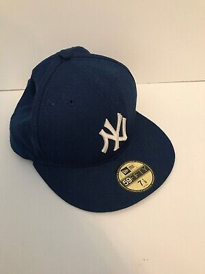 New Era MLB 59Fifty New York Yankees Snapback Baseball Cap Wool Small 56cm Blue