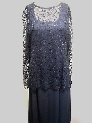 COTY Black Embroidered Long Flare with Lace Overlay Top Dress Size (Black Long Sleeve Embroidered Lace Flare Dress)
