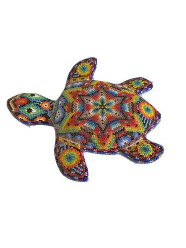 Vintage Huichol~ Beaded Turtle Figurine Hand Set Over Wood Form~ Mexico Folk Art