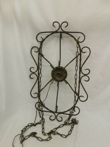 ANTIQUE WROUGHT IRON POT HANGER RACK WITH LIGHT FIXTURE KITCHEN