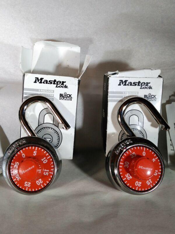 Lot of 2 Master Lock Combination Padlocks, Red - New