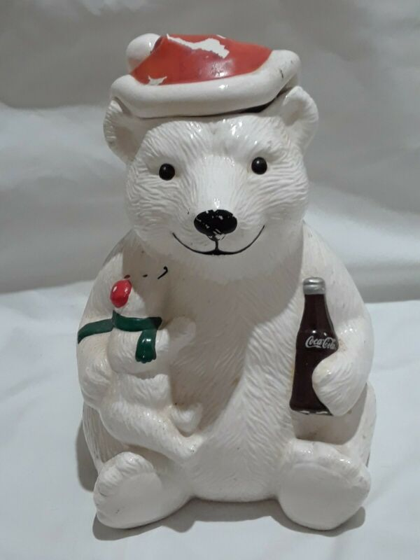 "Vtg Coca-Cola Winter Polar Bear & Baby 1998 Ceramic Cookie Jar 10"" Christmas"