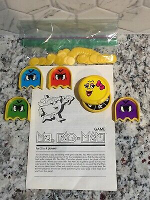 Ms. Pac-Man Board Game MB Milton Bradley 1983 Spare Parts Pieces Spinner Manual