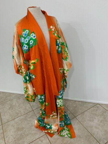 Vintage Antique Japanese Heavy Woven Silk Kimono With A Hydrangea Pattern