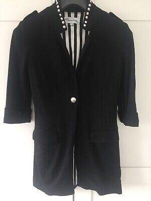 Jovonna London At Asos Black Fitted Studded Jacket Size 8 Stripe Lining