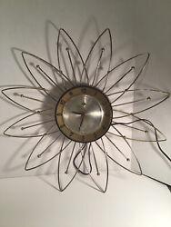 Vintage LUX Atomic Electric Wall Clock MCM Retro Starburst Sunburst Robertshaw