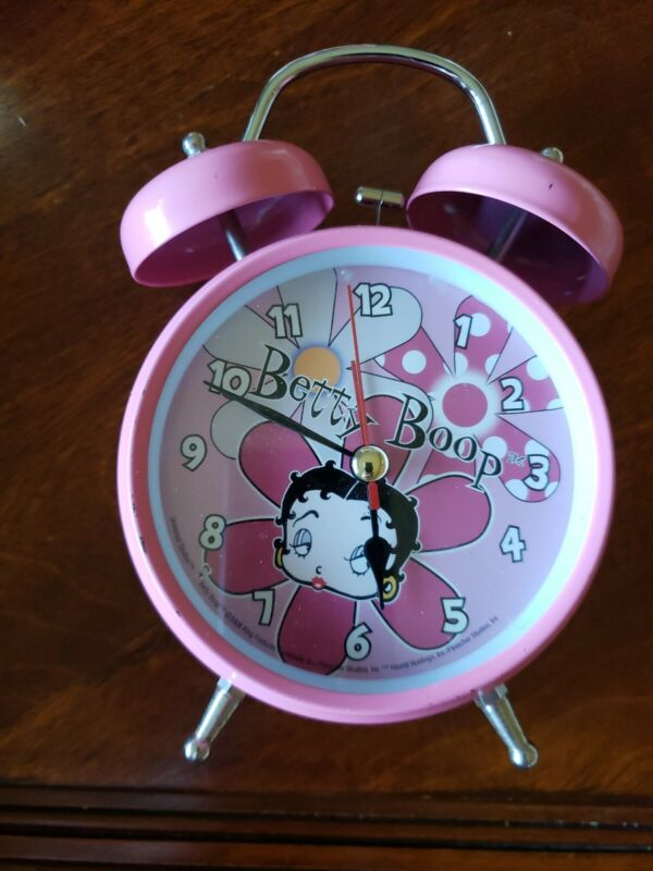 "Betty Boop Pink Flowers Alarm Clock 6.5"" Battery Operated"
