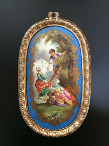 Late 19th Century Antique Sevres Style French Hand Painted Porcelain Plaque