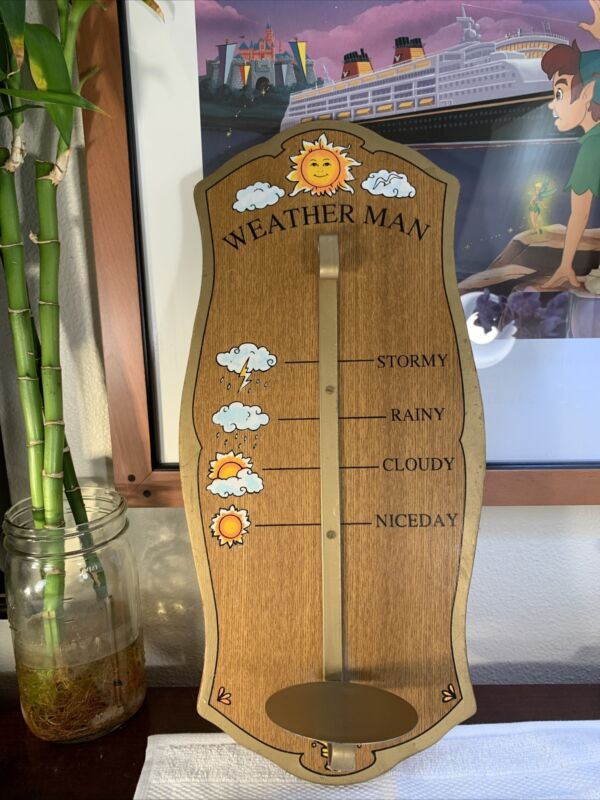 VTG Weather MAN Station For Barometer Thermometer Hygrometer Plaque Stand RARE