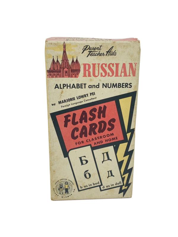Vintage Russian Language Flash Cards 1959 Gelles-Widmer Parent Teacher Aid Set