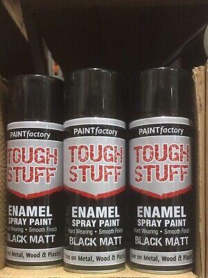 Enamel Black Matt Paint Spray Aerosol 400ml Radiator Metal Wood Etc. Tough