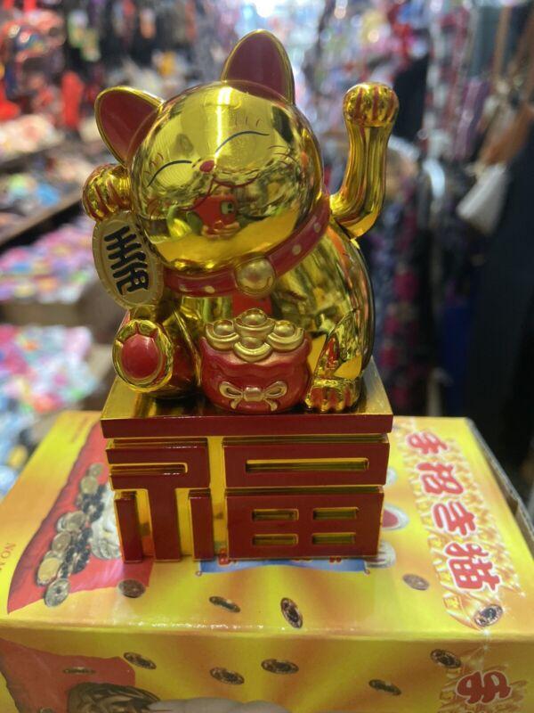 Fortune Lucky Gold Cat Kitten Feng Shui Wealth Waving Maneki Beckoning 4 Inch